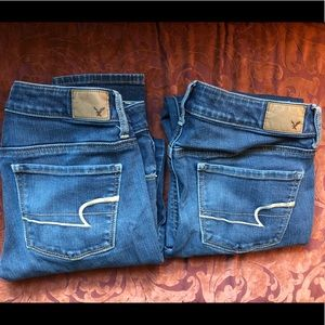 2 pairs American Eagle skinny jeans